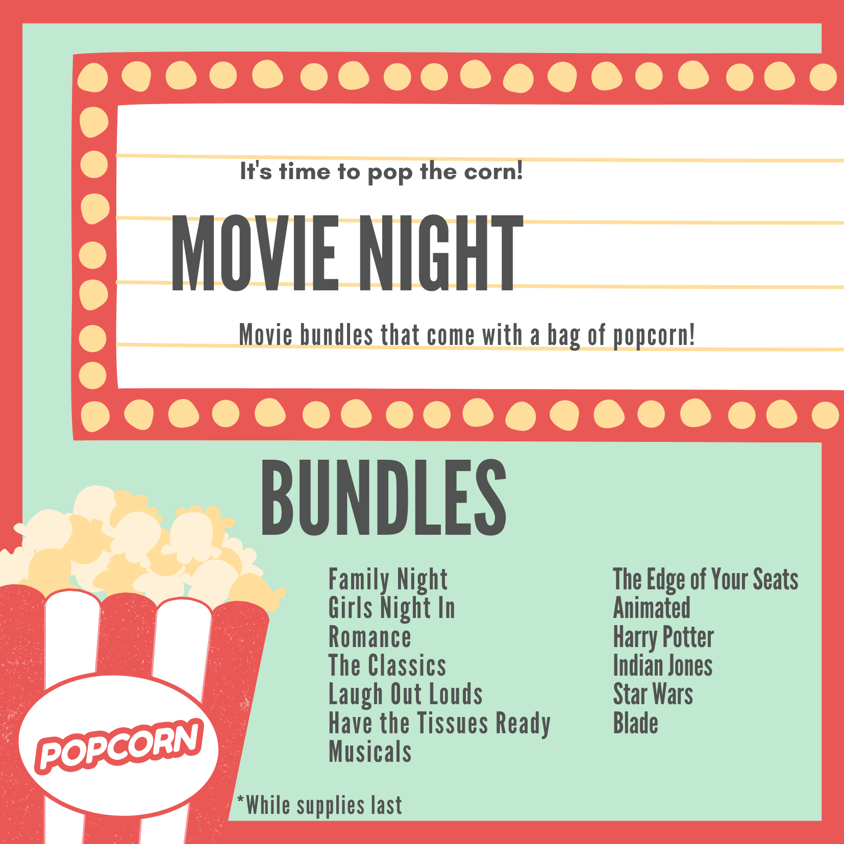 Mint Theater Marquee Popcorn Movie Night Invitation